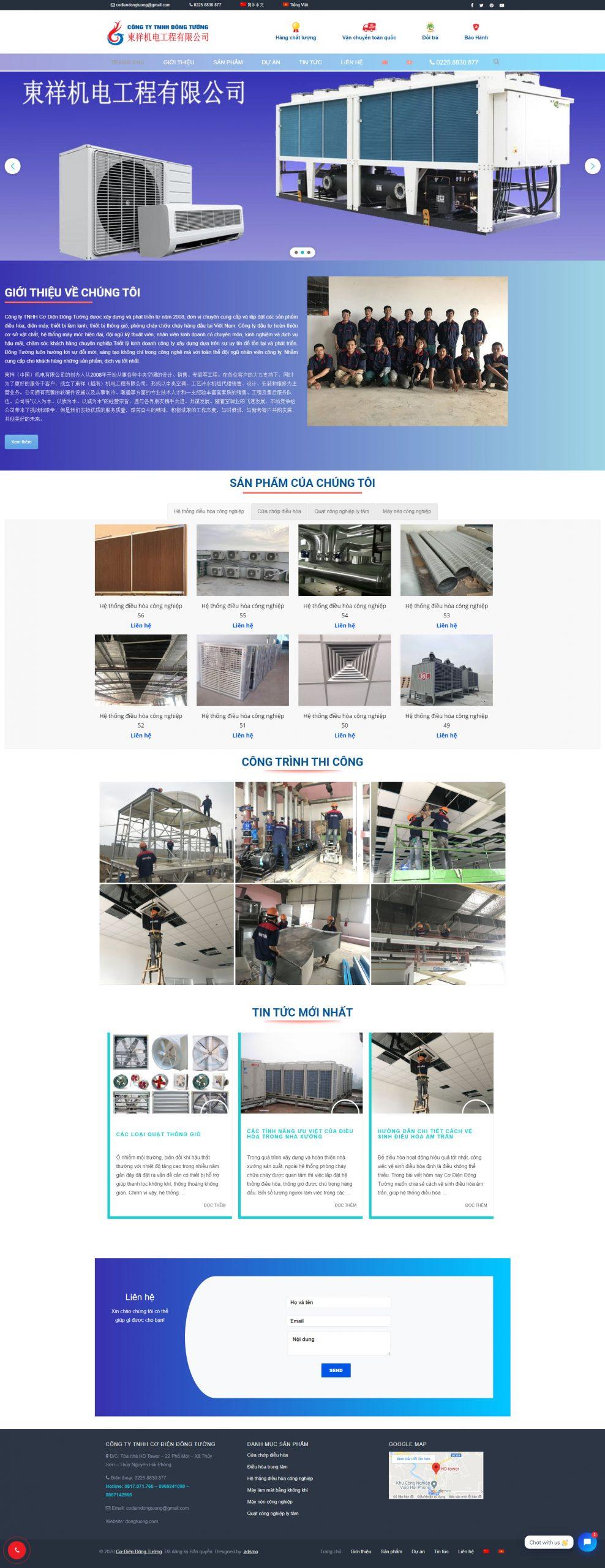 Giao diện website công ty Cơ điện Đông Tường