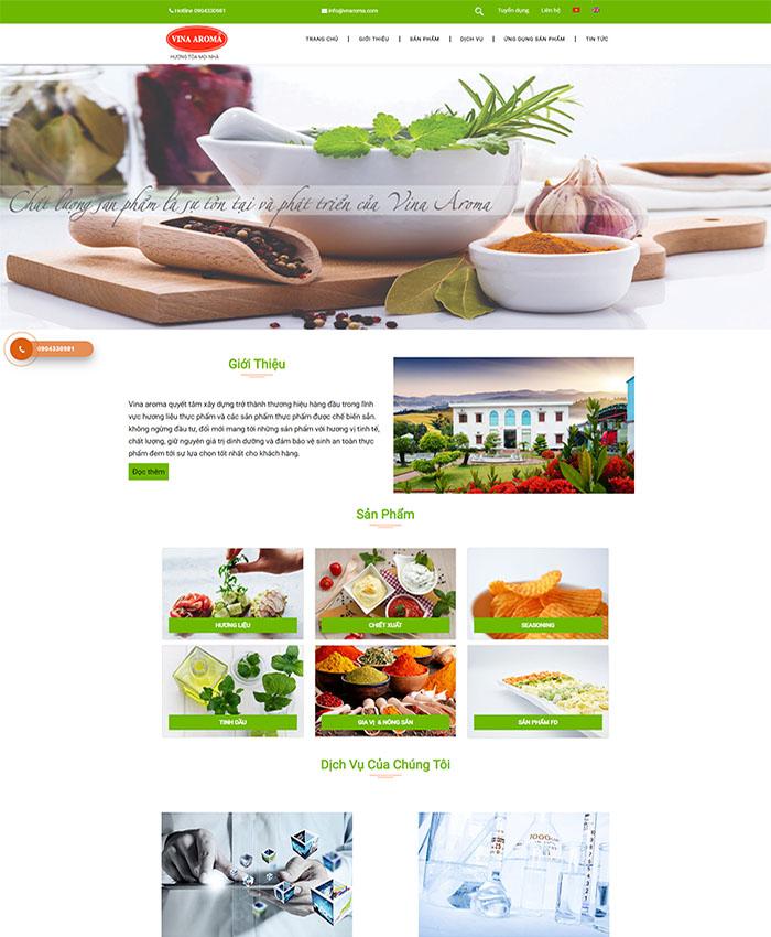 Thiết kế website công ty hương liệu vnaroma