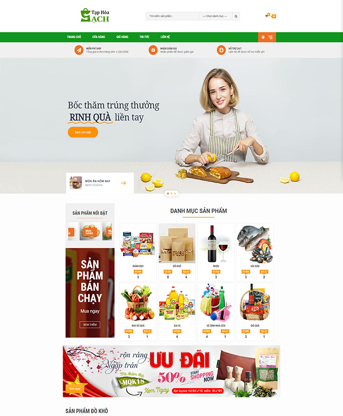 Website bán hàng thực phẩm 01