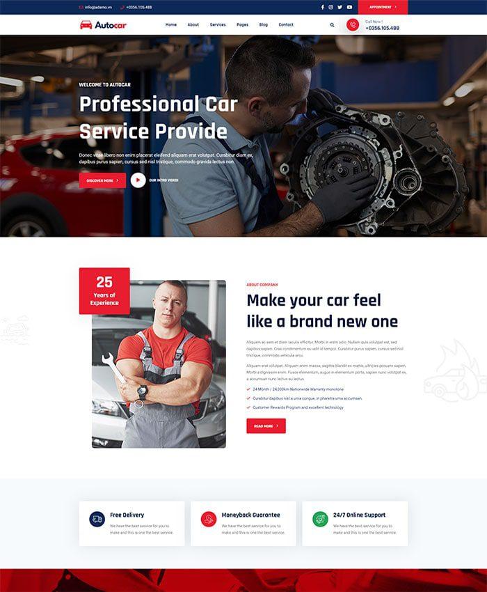 Mẫu web bán hàng ô tô 01