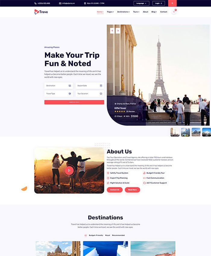 Mẫu web du lịch chuẩn SEO 01