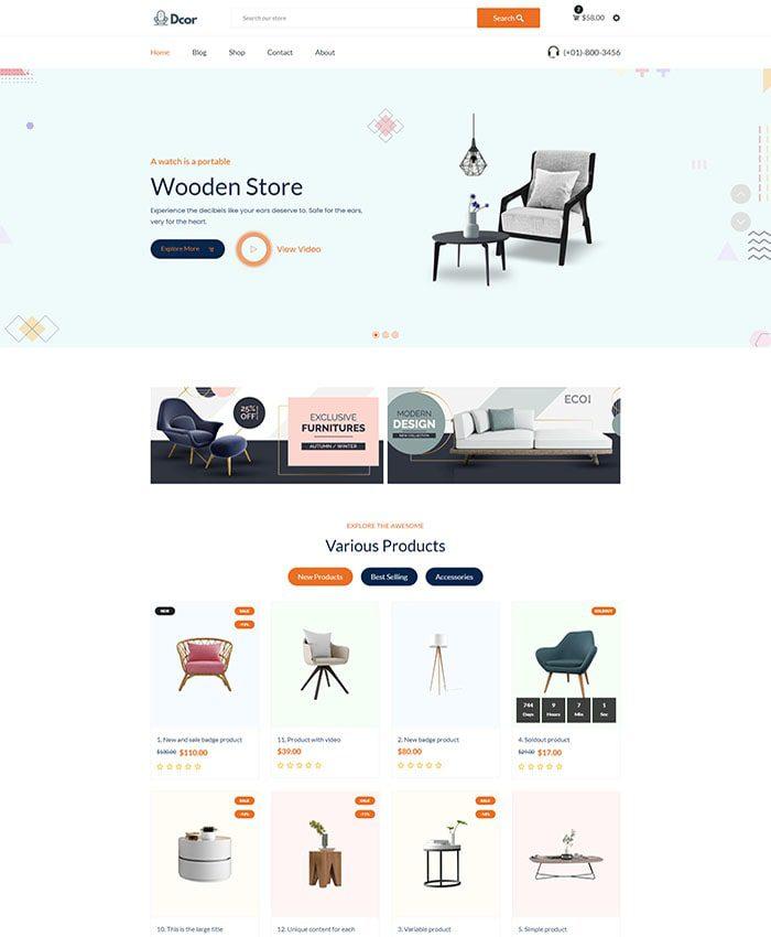 Mẫu website bán hàng nội thất 01