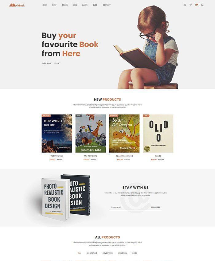 Mẫu website bán sách đẹp 01