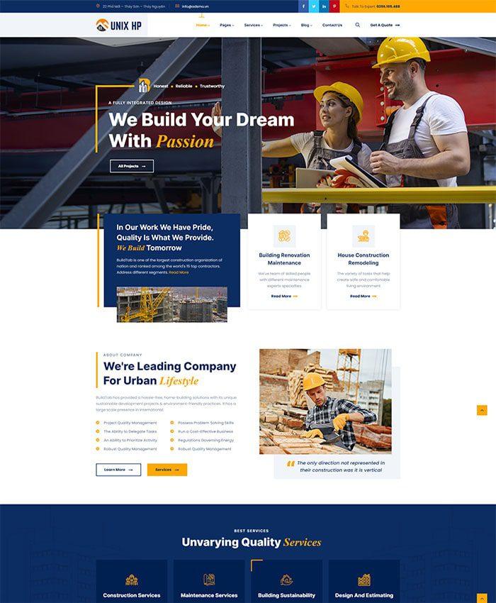 Mẫu website kiến trúc nhà đẹp 01
