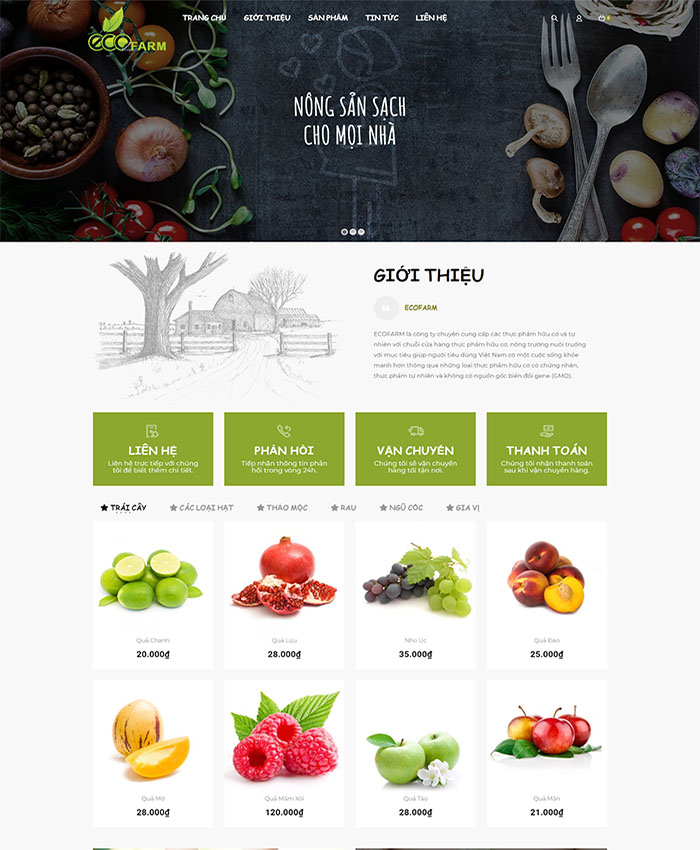 Website sản xuất nông sản 01