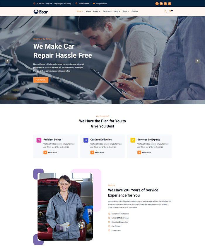 Thiết kế website bảo dưỡng ô tô chuyên nghiệp 01