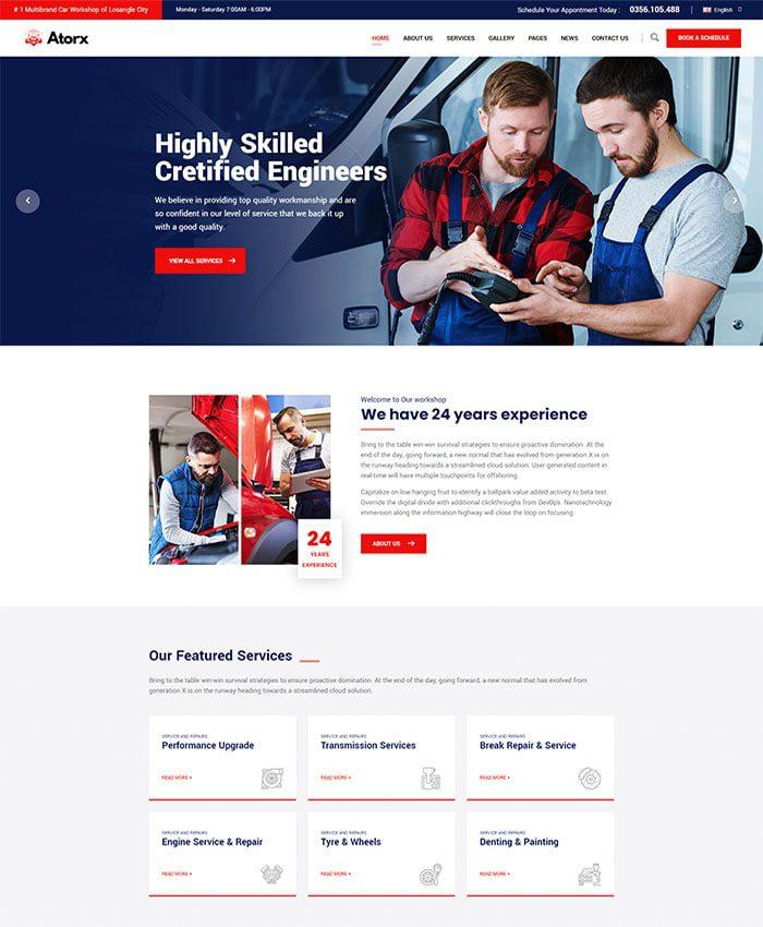 Mẫu website trung tâm bảo dưỡng xe ô tô, xe máy 01