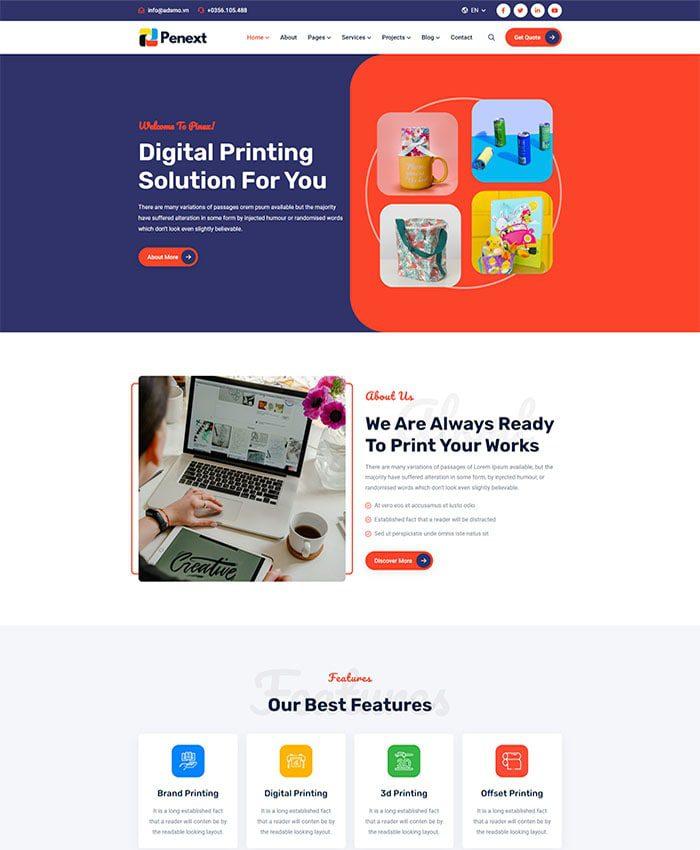 Mẫu website công ty Marketing đẹp 01
