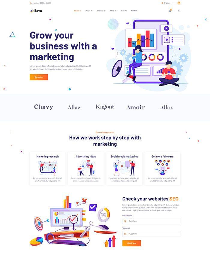 Mẫu web công ty truyền thông Marketing 01