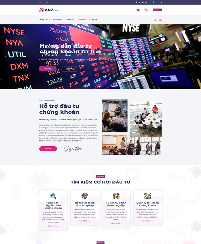 Thiết kế website tài chính, chứng khoán 01