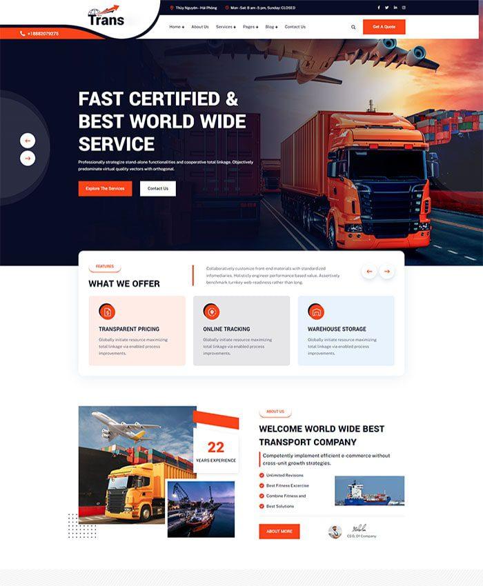 Thiết kế web cho thê kho bãi, nhà xưởng 01
