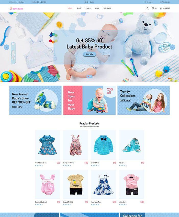Mẫu website thời trang trẻ em