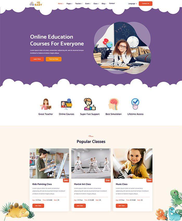 Mẫu web bán hàng trẻ em