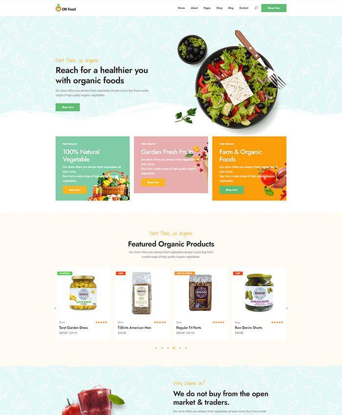 Mẫu website thực phẩm organic