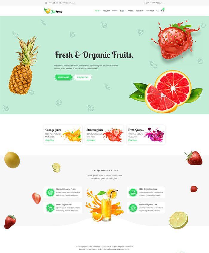 Mẫu website bán thực phẩm organic 01