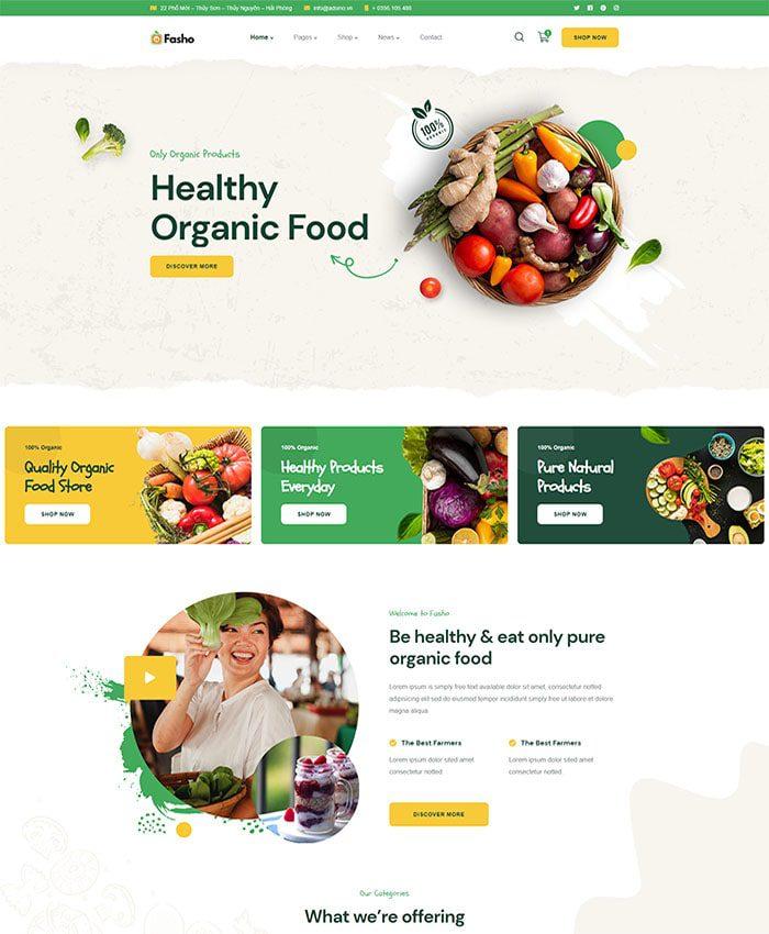 Thiết kế website thực phẩm sạch 01
