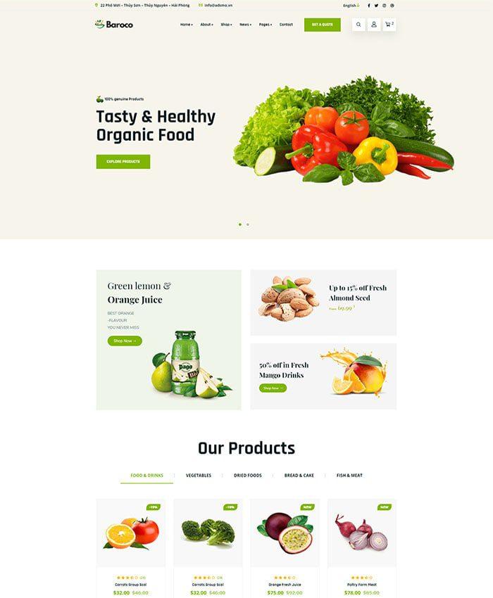 Thiết kế web bán hàng thực phẩm organic đẹp