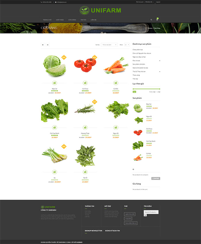 Thiết kế website bán thực phẩm, hoa quả nhập khẩu 03