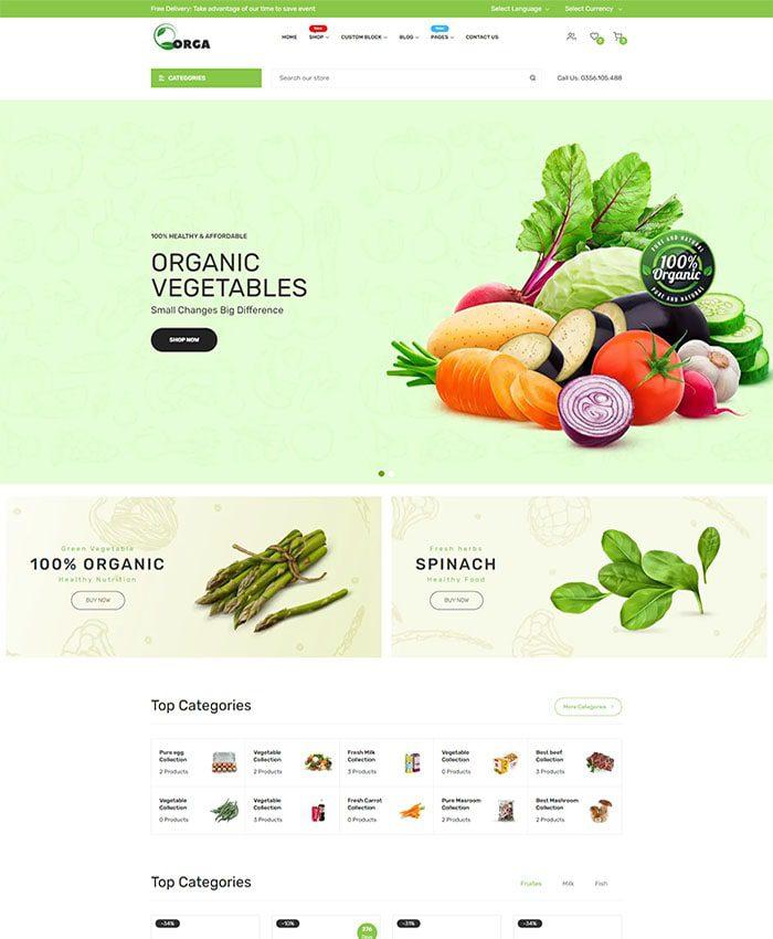 Thiết kế website thực phẩm, hoa quả sạch 01