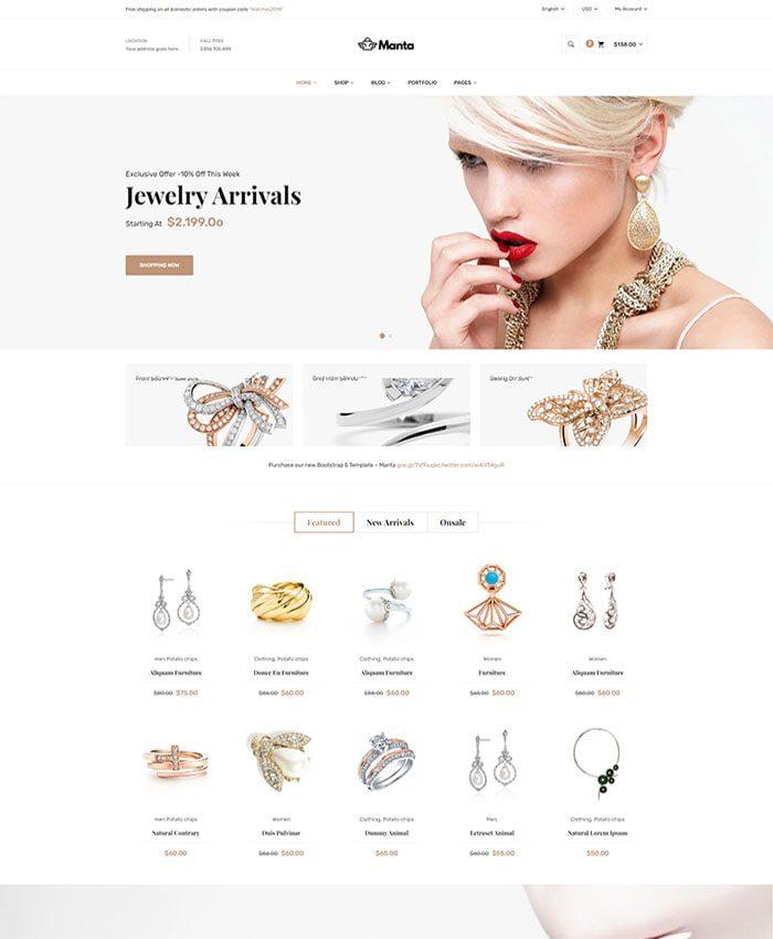 Thiết kế web bán hàng trang sức, đá quý sang trọng