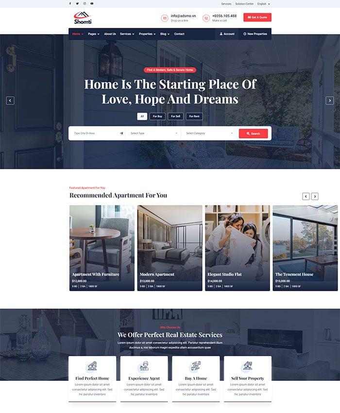 Thiết kế web bất động sản đẹp, chuyên nghiệp