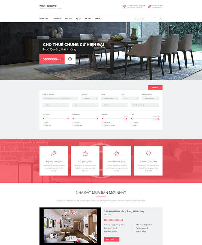 Mẫu website mua bán nhà đất, bất động sản