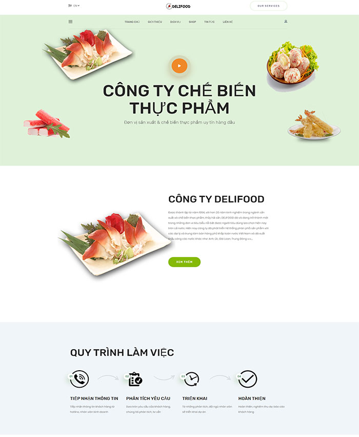 Mẫu website doanh nghiệp sản xuất & chế biến thực phẩm 01