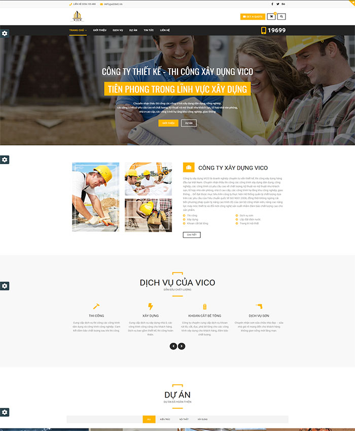 Mẫu website thi công xây dựng