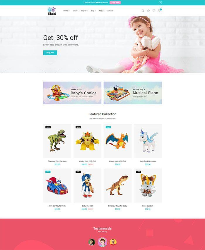 Mẫu website bán hàng trẻ em 01