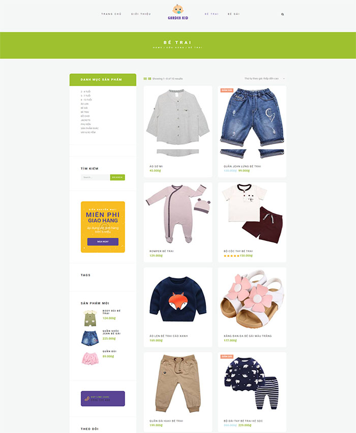 Mẫu website bán hàng trẻ em 03