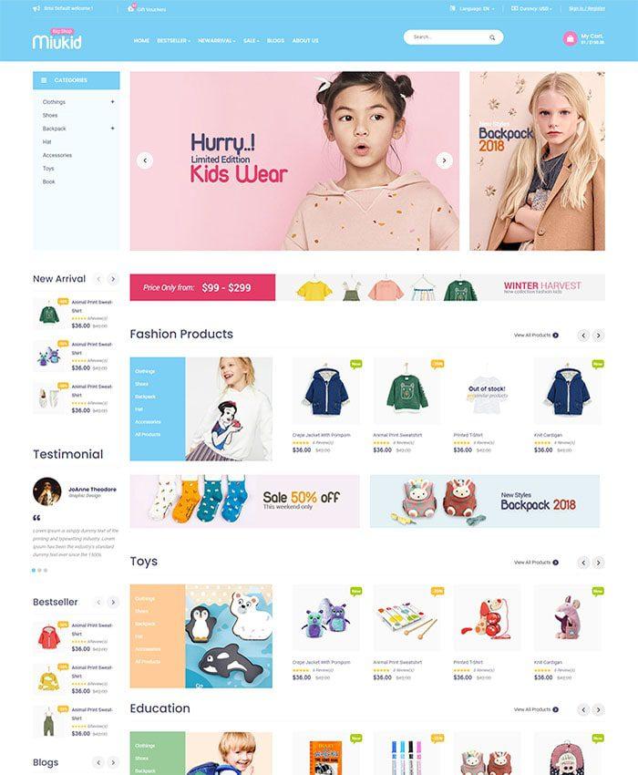 Mẫu website thời trang trẻ em 01