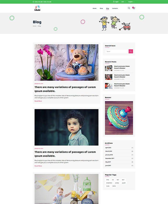 Mẫu website bán đồ chơi trẻ em 03