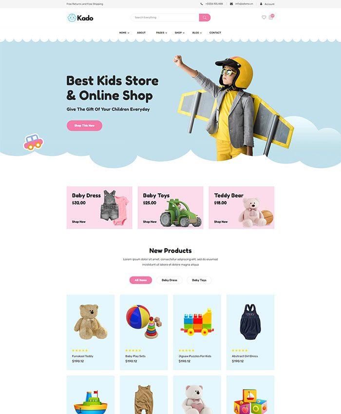 Mẫu website cửa hàng đồ chơi trẻ em 01