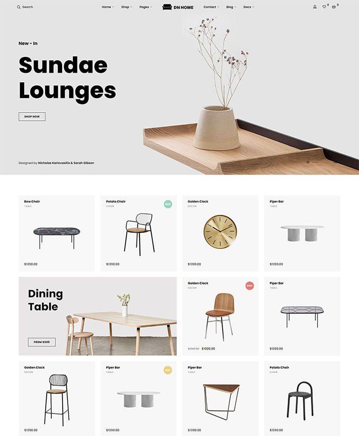 Mẫu website cửa hàng nội thất đẹp 01