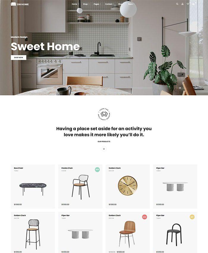 Mẫu website cửa hàng nội thất đẹp 02