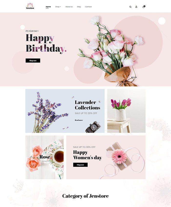 Mẫu website bán hoa tươi đẹp 02