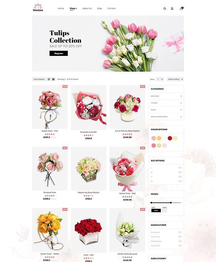 Mẫu website bán hoa tươi đẹp 03