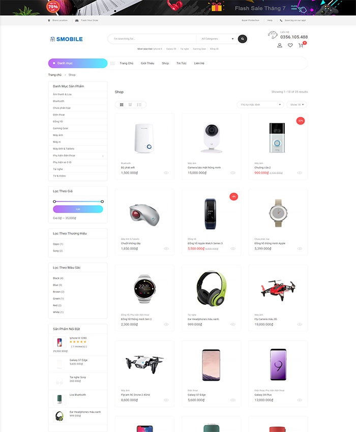 Mẫu website phụ kiện điện thoại đẹp 03