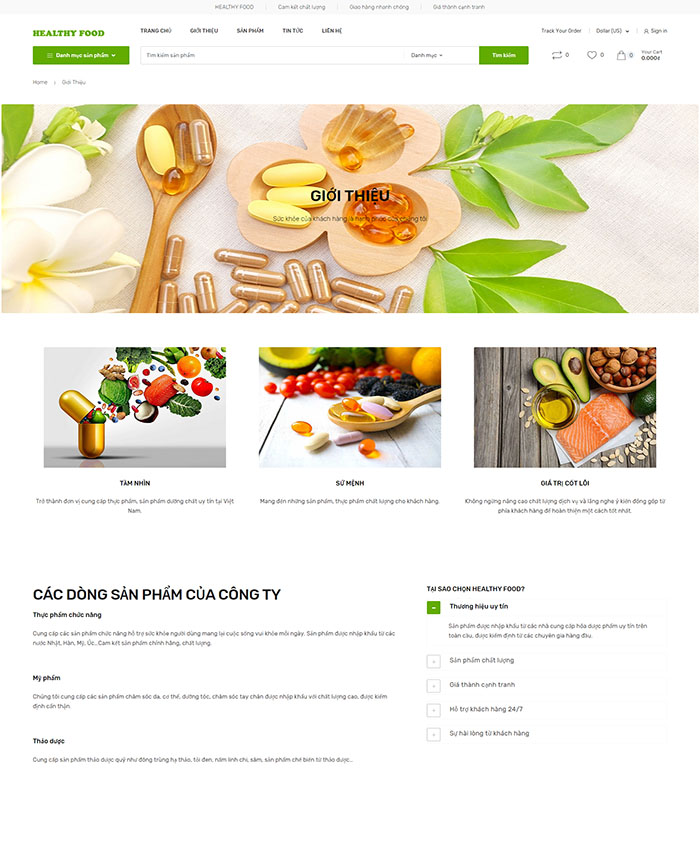 Mẫu web bán thực phẩm chức năng 02