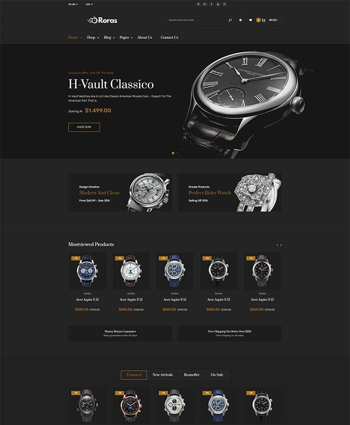 Mẫu website bán đồng hồ đẹp 02