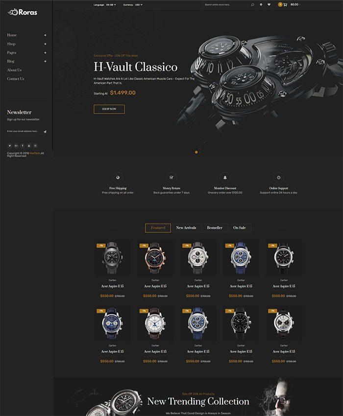 Mẫu website bán đồng hồ đẹp 03