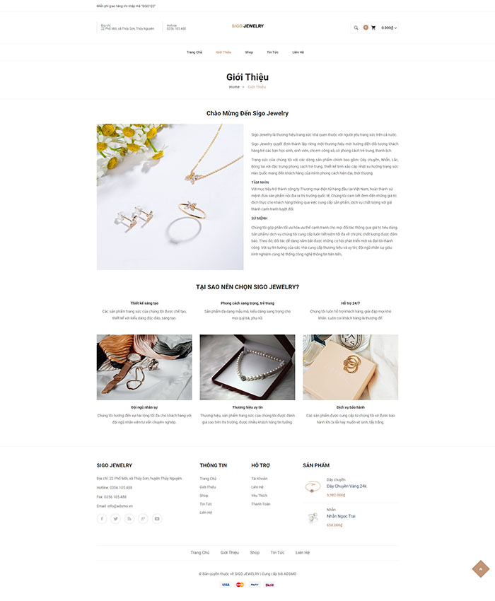 Thiết kế mẫu website bán trang sức 02