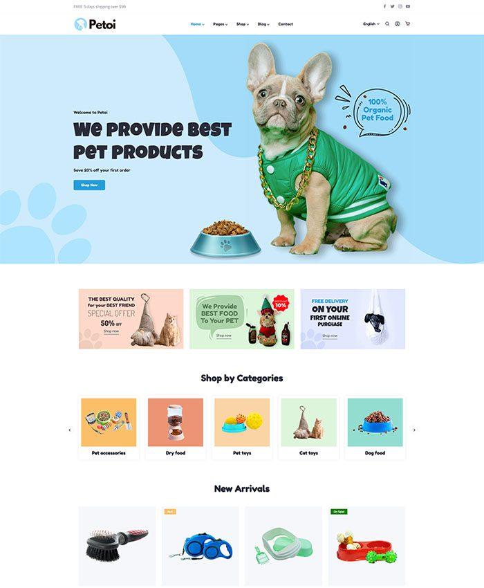Mẫu web shop thú cưng đẹp, ấn tượng 01