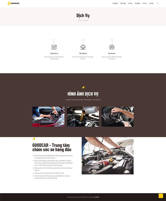 Thiết kế web bảo dưỡng ô tô 03
