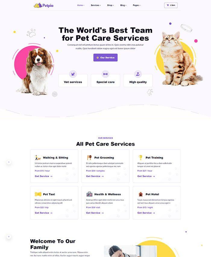 Thiết kế web thú cưng đẹp 01