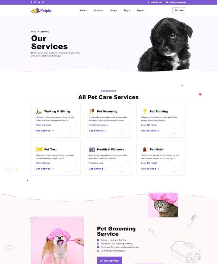 Thiết kế web thú cưng đẹp 03