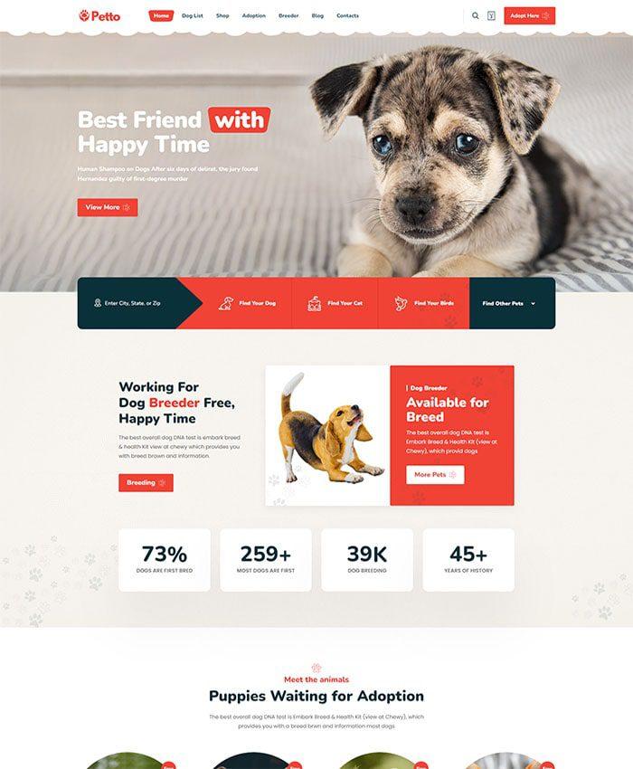 Mẫu web chăm sóc thú cưng 02