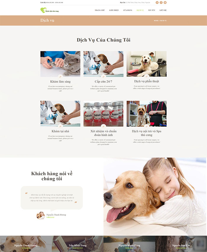 Mẫu web chăm sóc thú cưng 04