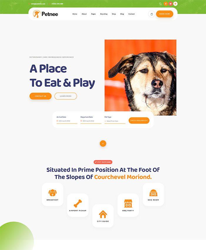 Mẫu website chăm sóc thú cưng ấn tượng 01