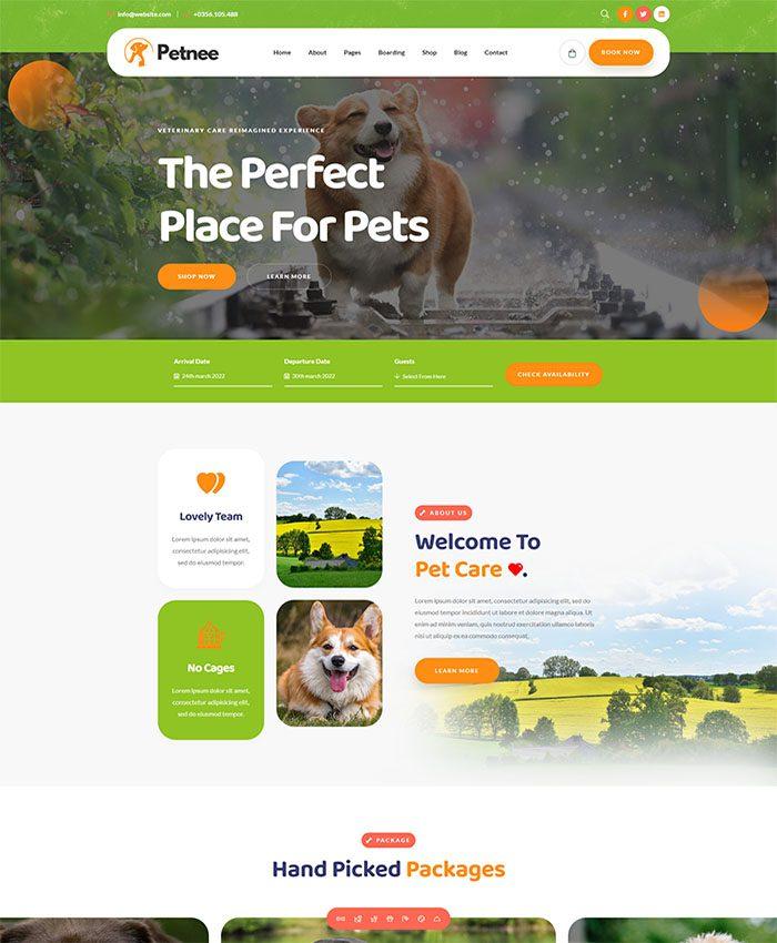 Mẫu website chăm sóc thú cưng ấn tượng 03